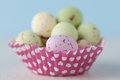 Closeup of chocolate speckled Easter eggs in cupcake liner. Royalty Free Stock Photo