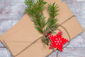 Closeup Christmas letter, red star and fir branch Royalty Free Stock Photo