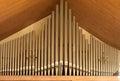 Closeup of church organ pipes tubes view horizontal composition Stock Photography