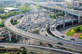 Closeup of the city interchange in the early morning rush hour Royalty Free Stock Photo