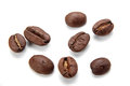 Closeup coffee bean isolated on white Royalty Free Stock Photo