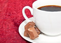Closeup of coffee and chocolates Stock Image