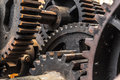 Closeup of cogs, gears, machinery Royalty Free Stock Photo