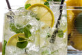Closeup of cold lemon drink for summer Royalty Free Stock Image