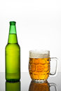 Closeup cold mug beer bottle light to dark background Stock Image