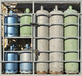 Closeup of colored propane gas cylinders Stock Photos