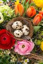 Closeup of colorful easter bouquet with eggs decoration spring flowers tulip ranunculus hyacinth daisy anemone Stock Images