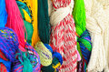 Closeup of colorful hammocks hanging knotted at the craft market Royalty Free Stock Photo