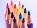 Closeup colorful pencil crayons vintage selective focus Stock Photo