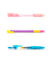 Closeup colorful pens , pink pen , purple pen , blue pen  isolated on white background Royalty Free Stock Photo
