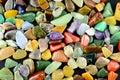 Closeup Colorful Stones On Bla...