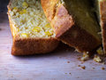 Closeup of corn bread slices on chopping board Royalty Free Stock Images