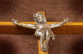 Closeup of a crucifix on dark background Royalty Free Stock Images