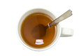 Closeup of a cup of tea with spoon viewed from above Royalty Free Stock Photo