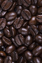 Closeup dark glossy italian roast coffee beans Royalty Free Stock Photo