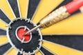 Closeup dart target with arrow on bullseye Royalty Free Stock Photo