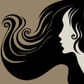 Closeup decorative vintage woman with long hair Royalty Free Stock Photo