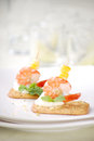 Closeup of delicious canape with shrimp / prawn Royalty Free Stock Images