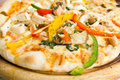 Closeup delicious pizza with seafood Royalty Free Stock Photos
