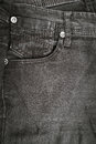 Closeup detail of black denim jeans trousers pocket Royalty Free Stock Photo