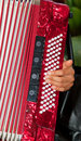 Closeup detail of hands playing a red accordion instrument Royalty Free Stock Image