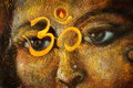 Closeup detail of hindu woman eyes with sacred symbol, illustration Royalty Free Stock Photo