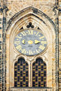 Closeup detail st vitus cathedral prague close up clock with golden metal fretwork castle czech republic Stock Photography