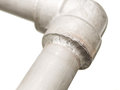 Closeup details seal welded joint in stainless pipeline for gas outdoor supply system Stock Images