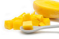 Closeup diced mango sweet yellow Royalty Free Stock Images