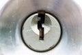 Closeup door key hole. Royalty Free Stock Photo