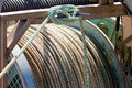 Closeup of drum of old worn hemp rope coils Stock Photo