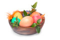 Closeup on Easter eggs with green leaves Royalty Free Stock Photo