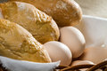 Closeup eggs and easter bread Stock Photography