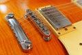 Closeup of electric guitar. Detail, selective focus. Royalty Free Stock Photo
