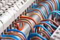 Closeup of electrical wires in switchgear cabinet Royalty Free Stock Photo