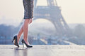 Closeup of elegant Parisian woman's legs Royalty Free Stock Photo