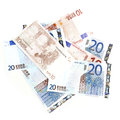 Closeup eurozone currency different values Royalty Free Stock Images