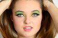 Closeup face photos of teenager close portrait young female polish with colorful makeup Stock Image