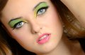 Closeup face photos of teenager close portrait young female polish with colorful makeup Stock Photography