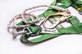 Closeup fall protection Hook harness and lanyard for work at heights