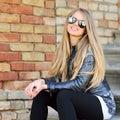 Closeup fashion beautiful woman portrait wearing sunglasses Royalty Free Stock Photo