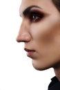 Closeup fashion portrait of androgynous man Royalty Free Stock Photo
