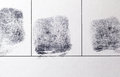Closeup of a finger prints three fingerprint on paper black ink criminal records Royalty Free Stock Image