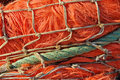 Closeup of fishing nets in a Dutch fishing port Royalty Free Stock Photo