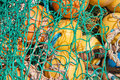 Closeup of fishing nets and floats Royalty Free Stock Image