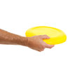 Closeup on flying disc in male hand Royalty Free Stock Photo