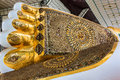 Closeup foot of buddha in bago myanmar Royalty Free Stock Image