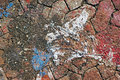Closeup footpath with old paint white blue and red Royalty Free Stock Image
