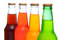 Closeup of Four Soda Bottles Royalty Free Stock Image