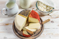 Closeup of fresh and healthy dairy products on old wooden table Royalty Free Stock Photography